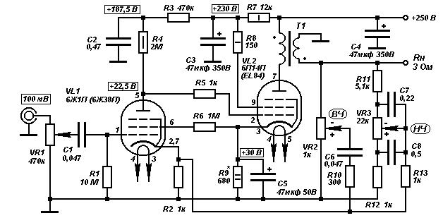 Схема усилителя на 6ж1п фото 655